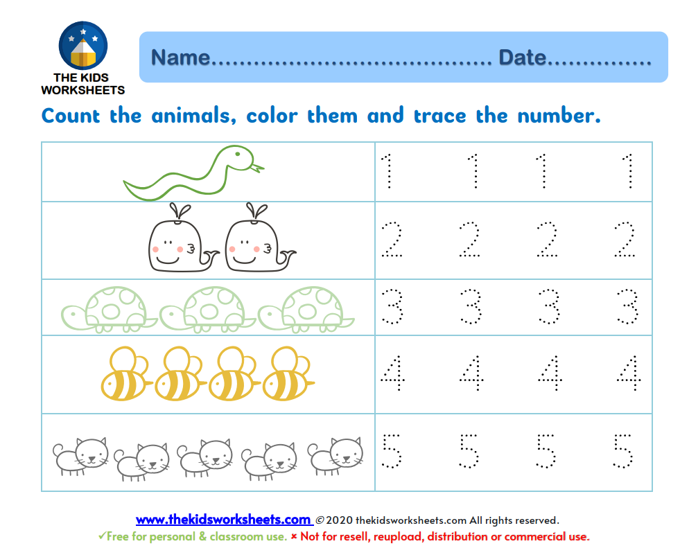 Trace Numbers 1-10 : The Kids Worksheets