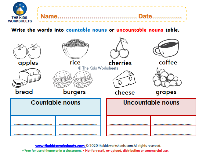 Countable nouns or uncountable nouns : The Kids Worksheets